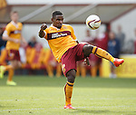 Motherwell's Zane Francis-Angol's botched clearance falls to Tony Andreu for the opening goal
