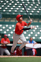 Philadelphia Phillies Luis Rojas (9) follows through on a swing during a Florida Instructional League game against the Baltimore Orioles on October 4, 2018 at Ed Smith Stadium in Sarasota, Florida.  (Mike Janes/Four Seam Images)