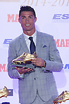 Real Madrid´s Cristiano Ronaldo receives the 2014-15 Golden Boot award in Madrid, Spain. October 13, 2015. (ALTERPHOTOS/Victor Blanco)