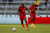 July 16th 2021; Orlando, Florida, USA; Guadeloupe midfielder Edwing Malpon (8) during the Concacaf Gold Cup match between Guadeloupe and Jamaica on July 16, 2021 at Exploria Stadium in Orlando, Fl.