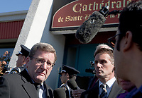 Quebec city mayor Regis Labeaume arrives at the funeral of Claude Bechard at the Sainte-Anne Cathedral in La Pocatiere Saturday September 11, 2010.<br /> <br /> PHOTO :  Francis Vachon - Agence Quebec Presse