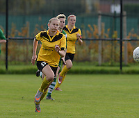 20151024 - ZWEVEZELE , BELGIUM : Nele Debyser pictured during a soccer match between the women teams of SKV Zwevezele Ladies and KSOC Maria Ter Heide  , during the eight matchday in the Third League - Derde Nationale season, Saturday 24 October 2015 . PHOTO DAVID CATRY