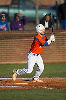 Drew Tiano (1) of the Glenn Bobcats follows through on his swing against the Mallard Creek Mavericks at Dale Ijames Stadium on March 22, 2017 in Kernersville, North Carolina.  The Bobcats defeated the Mavericks 12-2 in 5 innings.  (Brian Westerholt/Four Seam Images)