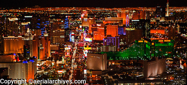 aerial photograph night time Las Vegas Boulevard, the Strip, Las Vegas, Clark County, Nevada