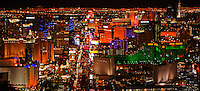 aerial photograph night time Las Vegas Boulevard, the Strip, Las Vegas, Clark County, Nevada
