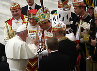 Papa Francesco saluta rappresentanti del carnevale storico della città di Colonia al termine dell'udienza Generale del mercoledi' in aula Paolo VI in Vaticano, 16 gennaio 2019.<br /> Pope Francis speaks with representatives of the historical carnival of the German city of Colonia at the end of his weekly general audience in Paul VI Hall at the Vatican, on January 16, 2019.<br /> UPDATE IMAGES PRESS/Isabella Bonotto<br /> <br /> STRICTLY ONLY FOR EDITORIAL USE