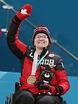Marie Wright, PyeongChang 2018 - Wheelchair Curling // Curling en fauteuil roulant.<br /> Marie Wright receives the bronze medal // Marie Wright reçoit la médaille de bronze. 17/03/2018.