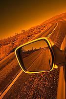 Rear view mirror in the desert<br />