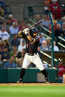 Rochester Red Wings Ali Castillo (4) bats during a game against the Worcester Red Sox on September 4, 2021 at Frontier Field in Rochester, New York.  (Mike Janes/Four Seam Images)