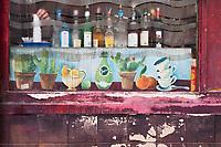Europe/France/Ile de France/75010/Paris: Détail façade d'un bar , quai de Valmy sur les bords du Canal Saint-Martin  //  Europe / France / Ile de France / 75010 / Paris: Facade detail of a bar, quai de Valmy on the banks of the Canal Saint-Martin