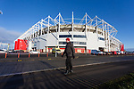 A Boro fan tking his lockdown walk past The Riverside stadium Middlesbrough, 16th January 2021, Middlesbrough 0 Birmingham 1, for WSC.
