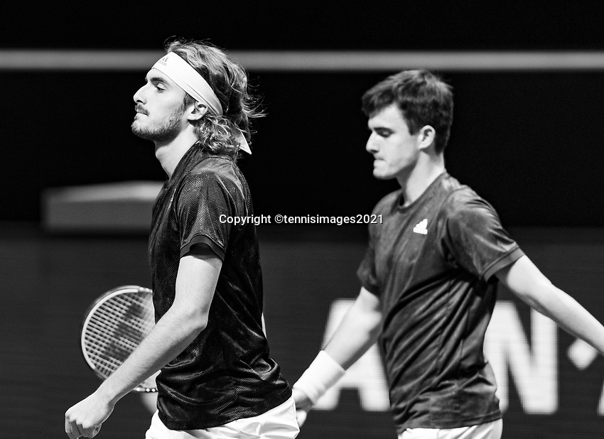 Rotterdam, The Netherlands, 3 march  2021, ABNAMRO World Tennis Tournament, Ahoy, First round doubles: Stefanos Tsitsipas (GRE) /Petros Tsitsipas (GRE). Photo: www.tennisimages.com/henkkoster
