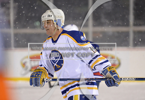Derek Smith (19) during The Frozen Frontier Buffalo Sabres vs. Rochester Amerks Alumni Game at Frontier Field on December 15, 2013 in Rochester, New York.  (Copyright Mike Janes Photography)