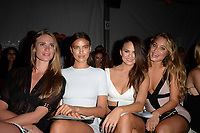 MIAMII BEACH, FL - JULY 19:  Models Julie Henderson, Irina Shayk, Christine Teigen, Hannah Davis, and Nina Agdal at the Beach Bunny show during Mercedes-Benz Fashion Week Swim 2014 at Cabana Grande at the Raleigh on July 19, 2013 in Miami, Florida. <br />