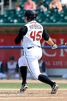 Lansing Lugnuts designated hitter Kevin Patterson (45) at bat during a game against the Dayton Dragons on August 25, 2013 at Cooley Law School Stadium in Lansing, Michigan.  Dayton defeated Lansing 5-4 in 11 innings.  (Mike Janes/Four Seam Images)