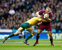 Photo: Richard Lane/Richard Lane Photography. England v Australia. QBE Autumn Internationals. 17/11/2012. England's Joe Marler attacks.