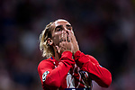 Antoine Griezmann of Atletico de Madrid reacts after his shot was saved by goalkeeper Thibaut Courtois of Chelsea FC during the UEFA Champions League 2017-18 match between Atletico de Madrid and Chelsea FC at the Wanda Metropolitano on 27 September 2017, in Madrid, Spain. Photo by Diego Gonzalez / Power Sport Images