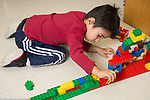 Education Preschool 3-4 year olds boy playing with construction made with colored plastic bricks and toy animal