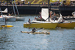Race to Alaska, human powered, wind powered, all class, boat race, Port Townsend to Ketchikan, second leg, racers in LeMans start leave, Inner Harbor, Victoria, British Columbia, Canada, for Ketchikan, Alaska,
