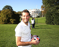 "Ben Olsen in front of the White House during a  D.C United clinic in support of first lady Michelle Obama's ""Let's Move"" initiative on the White House lawn, in Washington D.C. on October 7 2010."
