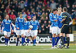 St Johnstone v Rangers...14.01.12  .Fran Sandaza and Liam Craig appeal to ref Craig Thomson for offside against Jelavic's goal.Picture by Graeme Hart..Copyright Perthshire Picture Agency.Tel: 01738 623350  Mobile: 07990 594431