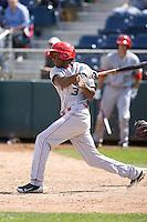 Spokane Indians' Saquan Johnson #3 at bat during a game against the Everett AquaSox at Everett Memorial Stadium on June 24, 2012 in Everett, WA.  Spokane defeated Everett 11-2.  (Ronnie Allen/Four Seam Images)