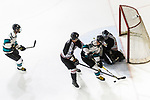Drew Barton of Cathay Flyers (C) battle for the puck with Jimmy Bjennmyr of Nordic Vikings (R) during the Mega Ice Hockey 5s match between Cathay Flyers and Nordic Vikings on May 03, 2018 in Hong Kong, Hong Kong. Photo by Marcio Rodrigo Machado / Power Sport Images