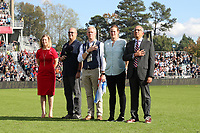 CARY, NC - OCTOBER 27: Dignitaries NWSL President Amanda Duffy, North Carolina Courage team owner Steve Malik, Chicago Red Stars team owner Arnim Whisler, U.S. Soccer Vice-President Cindy Parlow Cone, and U.S. Soccer President Carlos Cordeiro stand during the playing of the national anthem during a game between Chicago Red Stars and 2019 NWSL Championship: North Carolina Courage at Sahlen's Stadium at WakeMed Soccer Park on October 27, 2019 in Cary, North Carolina.