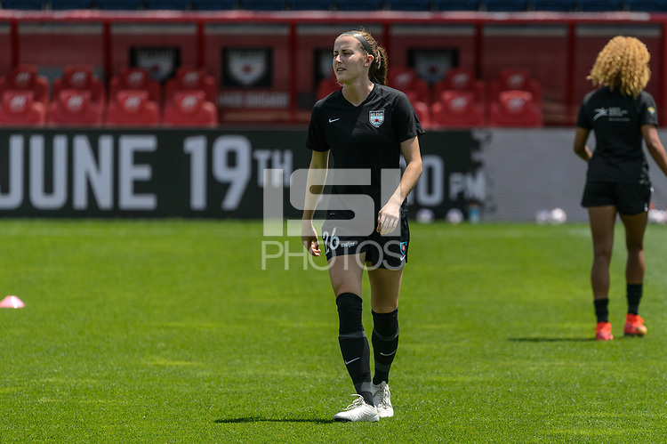 BRIDGEVIEW, IL - JUNE 5: Tierna Davidson #26 of the Chicago Red Stars warms up before a game between North Carolina Courage and Chicago Red Stars at SeatGeek Stadium on June 5, 2021 in Bridgeview, Illinois.
