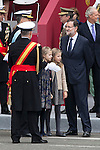 Princess Sofia of Spain, Princess Leonor of Spain and President of the Goberment of Spain Mariano Rajoy during Spanish National Day military parade in Madrid, Spain. October 12, 2015. (ALTERPHOTOS/Victor Blanco)