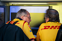 Aug 9, 2020; Clermont, Indiana, USA; NHRA team owner Connie Kalitta (left) with crew member during the Indy Nationals at Lucas Oil Raceway. Mandatory Credit: Mark J. Rebilas-USA TODAY Sports