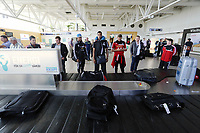 Wednesday 07 August 2013<br /> Pictured L-R: Jonathan de Guzman, Michel Vorm and Lee Trundle wait for their luggage after landing at Malmo Airport<br /> Re: Swansea City FC travelling to Sweden for their Europa League 3rd Qualifying Round, Second Leg game against Malmo.