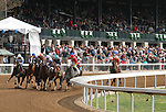 April 10, 2015: Keeneland race 3 coming around the first turn .   Candice Chavez/ESW/CSM