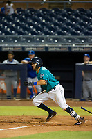 AZL Mariners second baseman Manny Pazos (21) follows through on his swing against the AZL Royals on July 29, 2017 at Peoria Stadium in Peoria, Arizona. AZL Royals defeated the AZL Mariners 11-4. (Zachary Lucy/Four Seam Images)