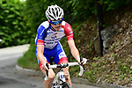 David Gaudu (FRA) Groupama-FDJ attacks from the breakaway group on the final climb during Stage 7 of the 2018 Criterium du Dauphine 2018 running 136km from Moutiers to Saint Gervais Mont Blanc, France. 10th June 2018.<br /> Picture: ASO/Alex Broadway | Cyclefile<br /> <br /> <br /> All photos usage must carry mandatory copyright credit (© Cyclefile | ASO/Alex Broadway)