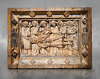Gothic marble relief sculpture from the tomb of Ramon d'Urtx, died 1290, from the convent of Sant Domenee de Puigcerda, Cerdanya, Spain..  National Museum of Catalan Art, Barcelona, Spain, inv no: MNAC  64011. Against a grey textured background.