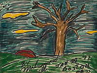 BNPS.co.uk (01202) 558833. <br /> Pic: Bonhams/BNPS<br /> <br /> Pictured: One of Ali's artworks, 'Sunset with Tree of Life, 1977, sold for £7000<br /> <br /> Packs a punch..<br /> <br /> Incredibly rare art work by Muhammad Ali has sold for almost £700,000 ($945,000) following a bidding war.<br /> <br /> The legendary heavyweight boxer was a passionate artist and produced a series of works documenting key milestones in his life.<br /> <br /> They proved a knock-out success with collectors, with some examples going for up to 10 times their pre-sale estimate.