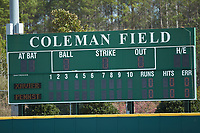 A detail view of the scoreboard prior to the start of the game between the Xavier Musketeers and the Penn State Nittany Lions at Coleman Field at the USA Baseball National Training Center on February 25, 2017 in Cary, North Carolina. The Musketeers defeated the Nittany Lions 10-4 in game one of a double header. (Brian Westerholt/Four Seam Images)