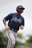 GCL Braves Mahki Backstrom (40) rounds the bases after hitting his first professional home run during a Gulf Coast League game against the GCL Orioles on August 5, 2019 at Ed Smith Stadium in Sarasota, Florida.  GCL Orioles defeated the GCL Braves 4-3 in the second game of a doubleheader.  (Mike Janes/Four Seam Images)