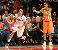 Tennessee's Meighan Simmons complains to the referee after being called on a foul against Virginia's China Crosby in the final seconds NCAA women's college basketball Sunday Nov. 20, 2011 in Charlottesville, Va. Virginia won 69-64 in overtime. (Photo/The Daily Progress/Andrew Shurtleff)
