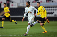 Pictured: Kenji Gorre of Swansea on his run before scoring his equaliser Monday 25 April 2016<br />Re: Play Off semi final, Swansea City AFC U21 v Aston Villa FC U21 at the Liberty Stadium, Swansea, UK