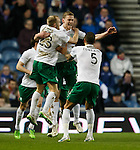 Scott Robertson celebrates after scoring for Hibs