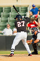 Yoandy Barroso (27) of the Kannapolis Intimidators at bat against the Rome Braves at CMC-Northeast Stadium on June 16, 2013 in Kannapolis, North Carolina.  The Intimidators defeated the Braves 6-4.   (Brian Westerholt/Four Seam Images)