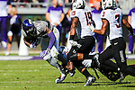 TCU Horned Frogs running back Kyle Hicks (21) in action during the game between the Oklahoma State Cowboys and the TCU Horned Frogs at the Amon G. Carter Stadium in Fort Worth, Texas.