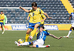 Kilmarnock v St Johnstone……15.08.20   Rugby Park  SPFL<br />Danny McNamara is tackled by Mitch Pinnock<br />Picture by Graeme Hart.<br />Copyright Perthshire Picture Agency<br />Tel: 01738 623350  Mobile: 07990 594431