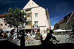 Cyclists ride in downtonwn Fussen, Germany, August 06, 2008. (ALTERPHOTOS/Alvaro Hernandez)