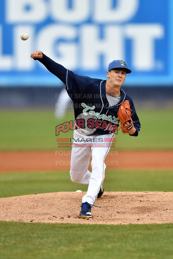 Asheville Tourists starting pitcher Ryan Feltner (14) delivers a pitch during game two of a double header against the West Virginia Power at McCormick Field on April 20, 2019 in Asheville, North Carolina. The Power were leading the Tourists 6-0 when the game was suspended in the middle of the fourth inning. (Tony Farlow/Four Seam Images)