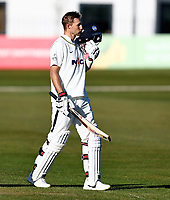 Joe Root kisses his helmet after scoring a hundred for Yorkshire during Kent CCC vs Yorkshire CCC, LV Insurance County Championship Group 3 Cricket at The Spitfire Ground on 17th April 2021