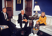 First lady Hillary Rodham Clinton, head of the Task Force on National Health Care Reform, right, meets with United States House Majority Leader Richard Gephardt (Democrat of Missouri), left, and Speaker of the U.S. House Thomas Foley (Democrat of Washington), center, in the U.S. Capitol in Washington, D.C. on February 16, 1993.  The first lady was on Capitol Hill to discuss health care issues.<br /> Credit: Brad Markel / Pool via CNP