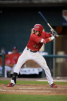 Harrisburg Senators left fielder Alec Keller (34) at bat during a game against the Akron RubberDucks on August 18, 2018 at FNB Field in Harrisburg, Pennsylvania.  Akron defeated Harrisburg 5-1.  (Mike Janes/Four Seam Images)